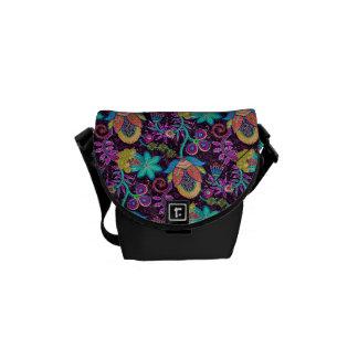 Colorful Retro Flowers Design-Glass-Beads Look Messenger Bag