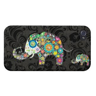 Colorful Retro Flowers & Diamond Elephant iPhone 4/4S Cases