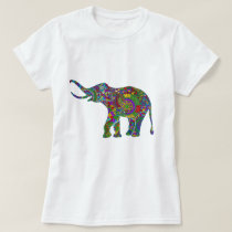 Colorful Retro Flowers Elephant 2 T-Shirt