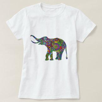 Colorful Retro Flowers Elephant 2 Tee Shirts