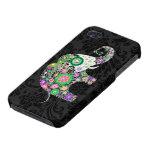 Colorful Retro Flowers Elephant Diamond Studs. iPhone 4 Case