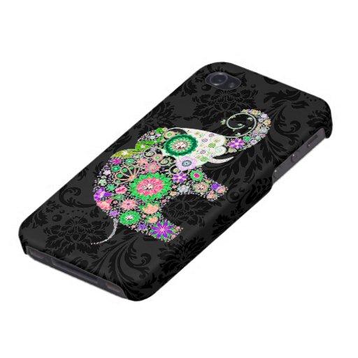 Colorful Retro Flowers Elephant Diamond Studs. iPhone 4 Cases