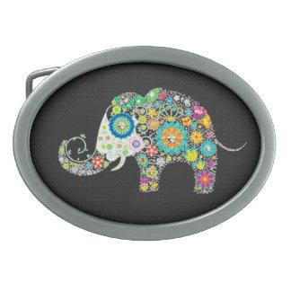 Colorful Retro Flowers Elephant Diamonds Texture Oval Belt Buckle
