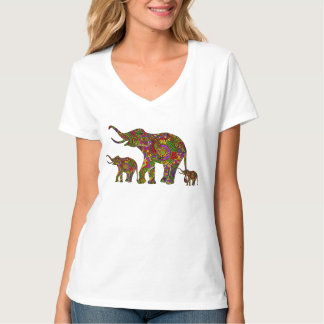 Colorful Retro Flowers Elephant Family 3 T-Shirt