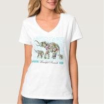Colorful Retro Flowers Elephant Family 4 T-Shirt