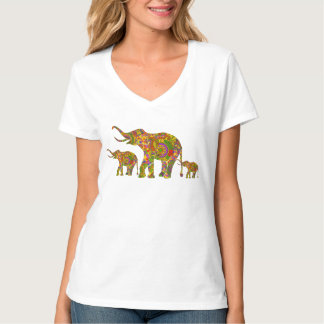 Colorful Retro Flowers Elephant Family T-Shirt