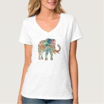 Colorful Retro Flowers Elephant T-Shirt