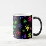 Colorful Retro Flowers on Black Coffee Mug