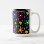 Colorful Retro Flowers on Black Coffee Mugs