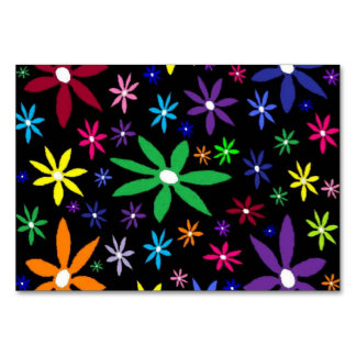 Colorful Retro Flowers on Black Table Cards