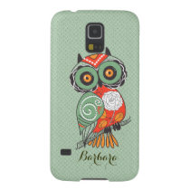 Colorful Retro Flowers Owl Galaxy S5 Cover