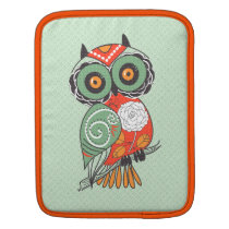 Colorful Retro Flowers Owl Sleeve For iPads