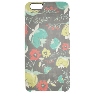 Colorful Retro Flowers Pattern Clear iPhone 6 Plus Case