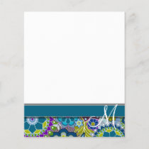 Colorful Retro Flowers with Monogram