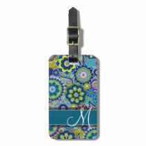 Colorful Retro Flowers with Monogram Bag Tag