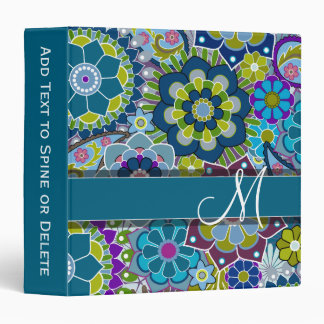 Colorful Retro Flowers with Monogram Binder