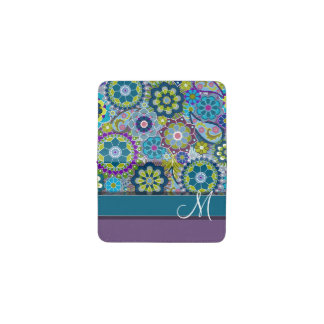 Colorful Retro Flowers with Monogram Business Card Holder