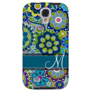 Colorful Retro Flowers with Monogram Galaxy S4 Case