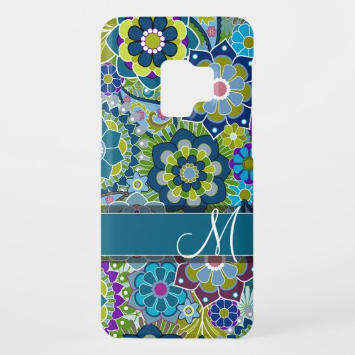 Colorful Retro Flowers with Monogram Case_Mate Samsung Galaxy S9 Case