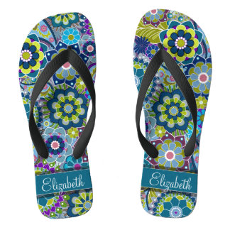 Colorful Retro Flowers with Monogram Flip Flops