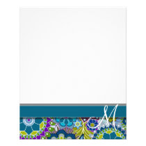 Colorful Retro Flowers with Monogram Flyer