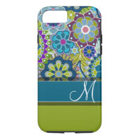 Colorful Retro Flowers with Monogram iPhone 7 Case