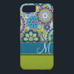 """Colorful Retro Flowers with Monogram iPhone 8/7 Case<br><div class=""""desc"""">A trendy design with popular colors and high style. Items are easier to customize when you replace all text and photos first. If your art still needs to be adjusted, click on the Customize This button. This will take you to a design area where you can move things around and...</div>"""