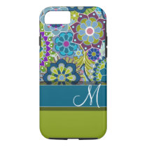 Colorful Retro Flowers with Monogram iPhone 8/7 Case