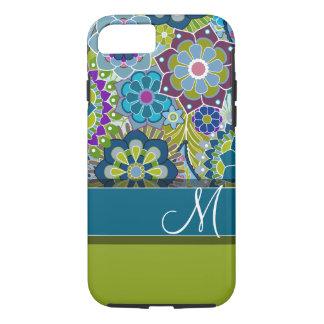Colorful Retro Flowers with Monogram iPhone 8/7 Case