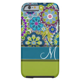Colorful Retro Flowers with Monogram Tough iPhone 6 Case