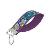 Colorful Retro Flowers with Monogram Wrist Keychain