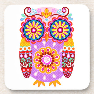 Colorful Retro Folk Owl Art Coasters - Set of 6