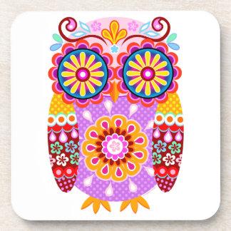 Colorful Retro Folk Owl Art Coasters - Set of 6