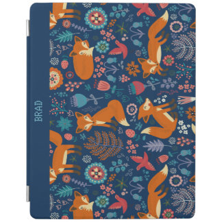 Colorful Retro Foxes Birds & Flowers Pattern iPad Smart Cover