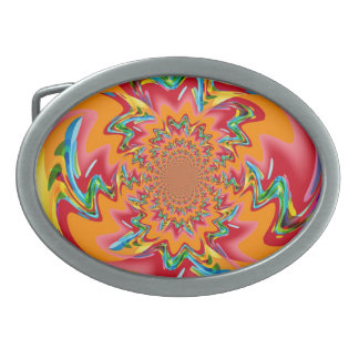 Colorful Retro Funky Paint Abstract Art Belt Buckle