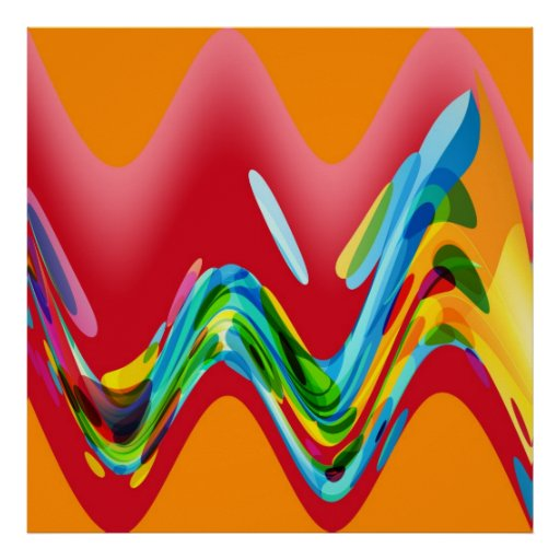Colorful Retro Funky Painting Abstract Art Poster