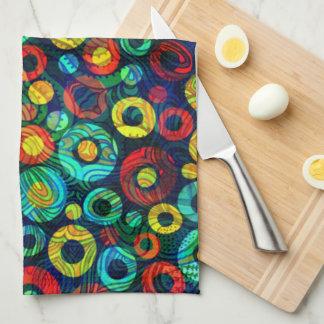 Colorful Retro Geometri Circles Random Pattern Hand Towels