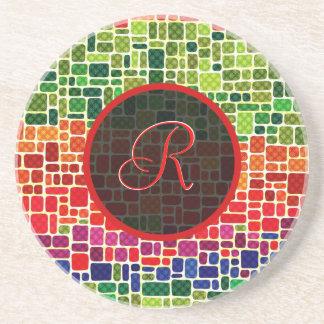 Colorful Retro Geometric Pattern-Monogram Sandstone Coaster