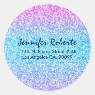 Colorful Retro Glitter And Sparkles Classic Round Sticker