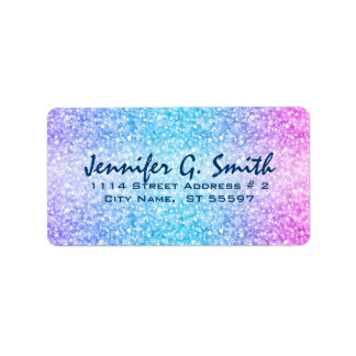 Colorful Retro Glitter And Sparkles Label