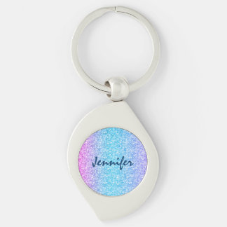 Colorful Retro Glitter And Sparkles Silver-Colored Swirl Metal Keychain