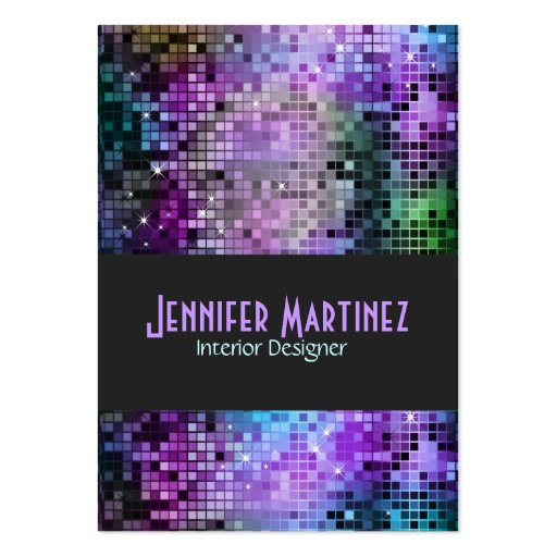 Colorful Retro Glitter Business Cards