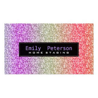 Colorful Retro Glitter & Sparkles Pattern Double-Sided Standard Business Cards (Pack Of 100)