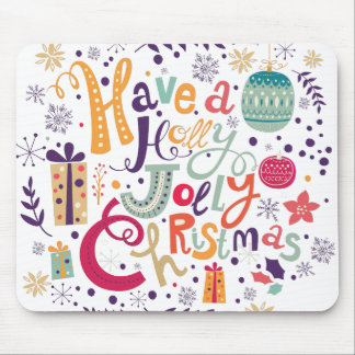Colorful Retro Have A Holly Jolly Christmas Mouse Pad