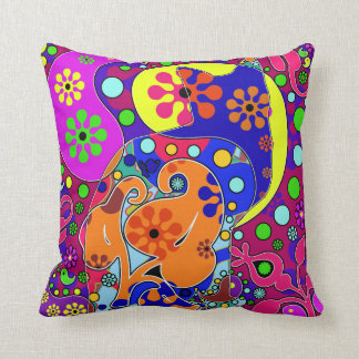 Colorful Retro Hippie Cat Throw Pillow