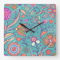 Colorful Retro Hippy Chic Flower Floral Square Wall Clock