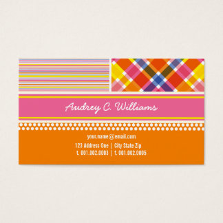 Colorful Retro Hot Pink Combo Pattern Profile Card