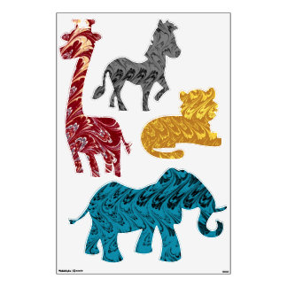 Colorful Retro Jungle Animals Wall Decal Set
