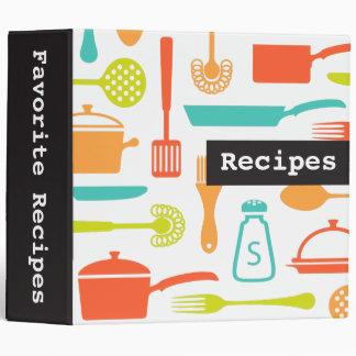 Colorful retro kitchen recipe binder / organizer