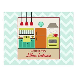 Colorful Retro Kitchen Recipe Postcard